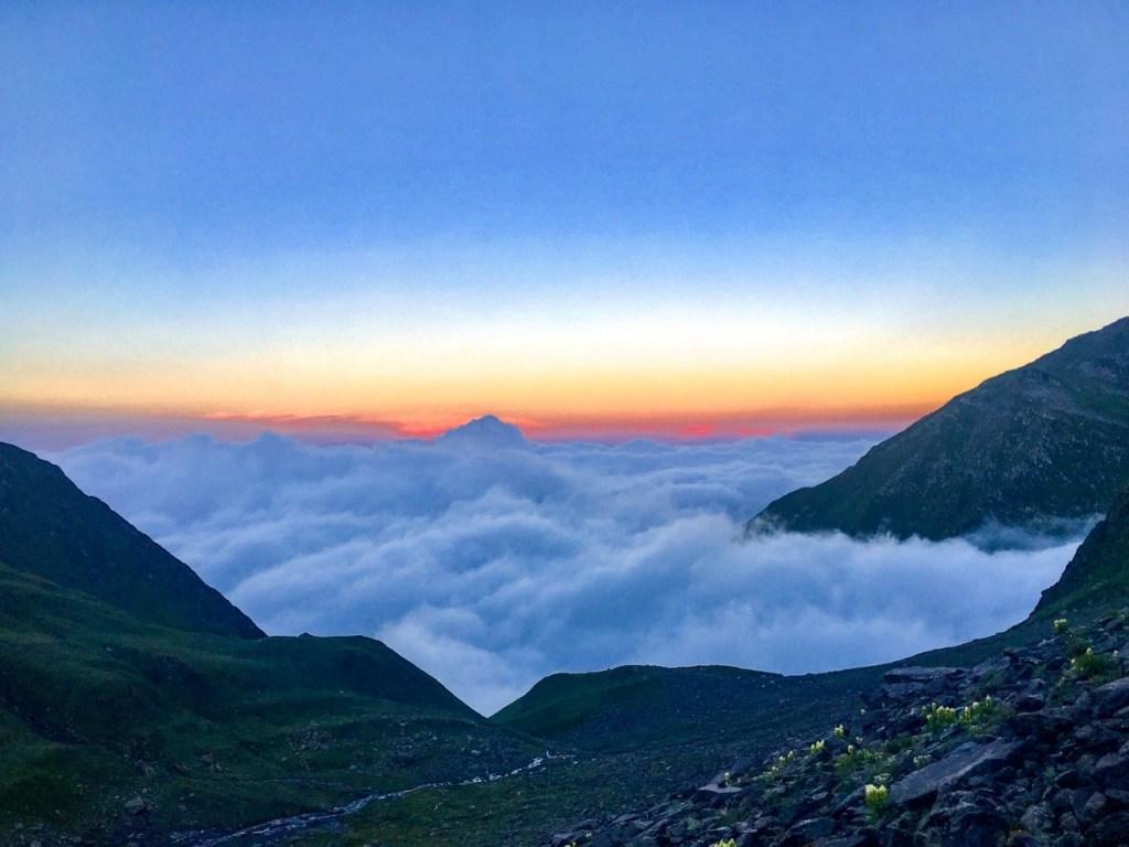 A magical morning view during shrikhand mahadev yatra