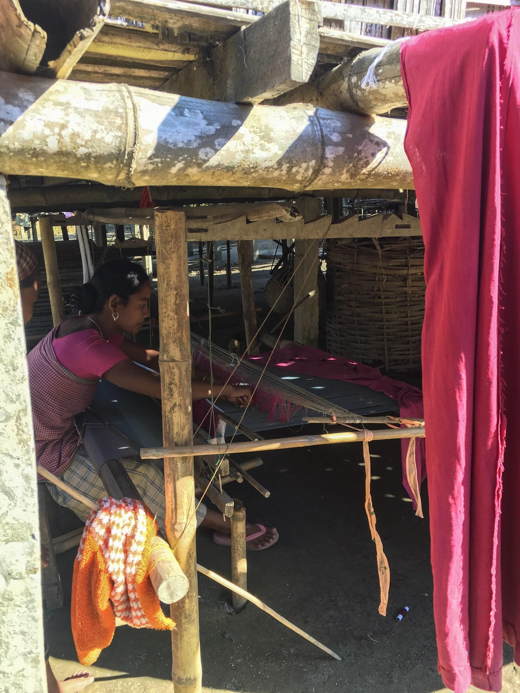 mising women making cloths in majuli, assam