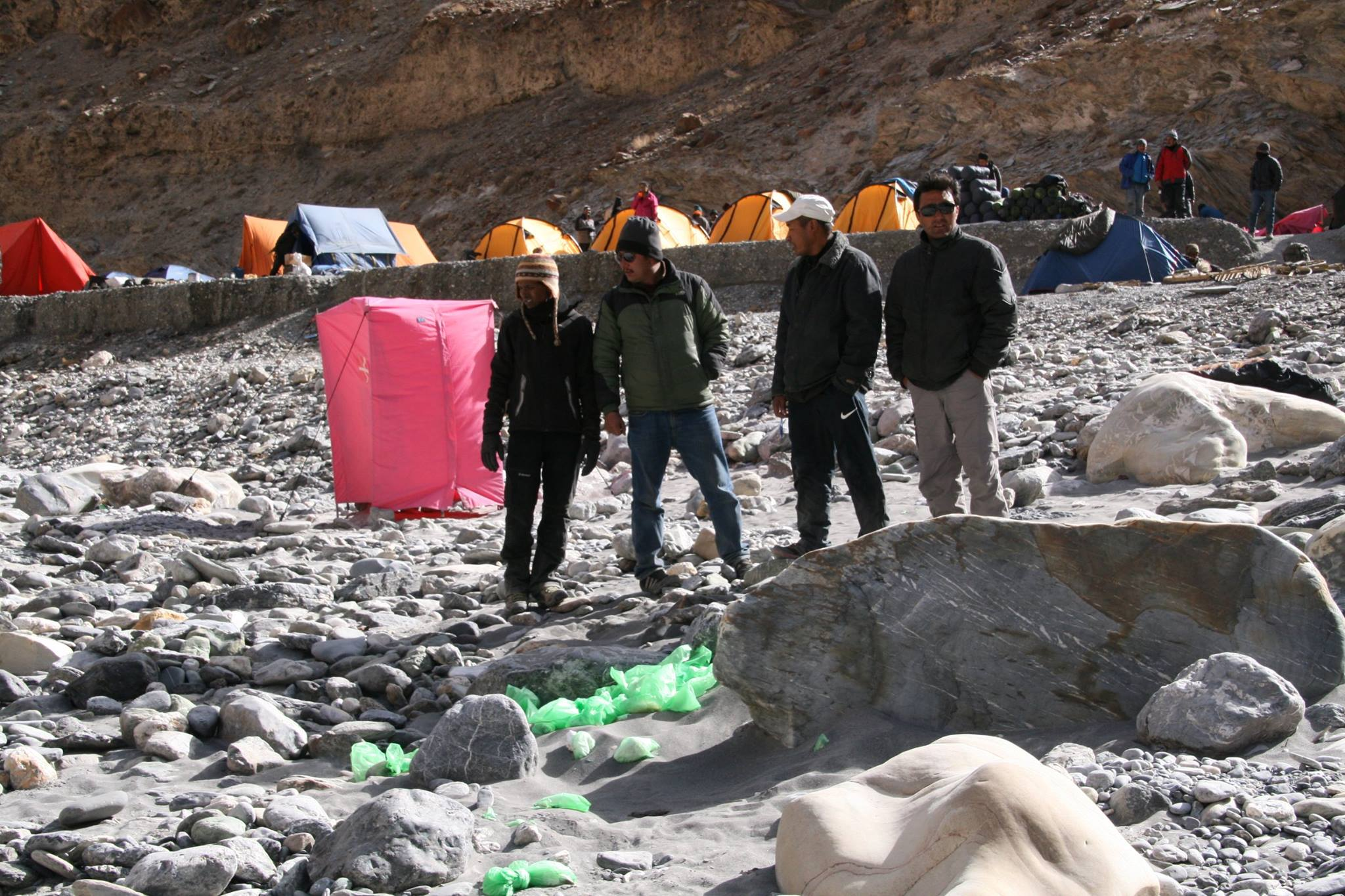 Shitt Bags dumped in oopen by India HIkes in Ladakh