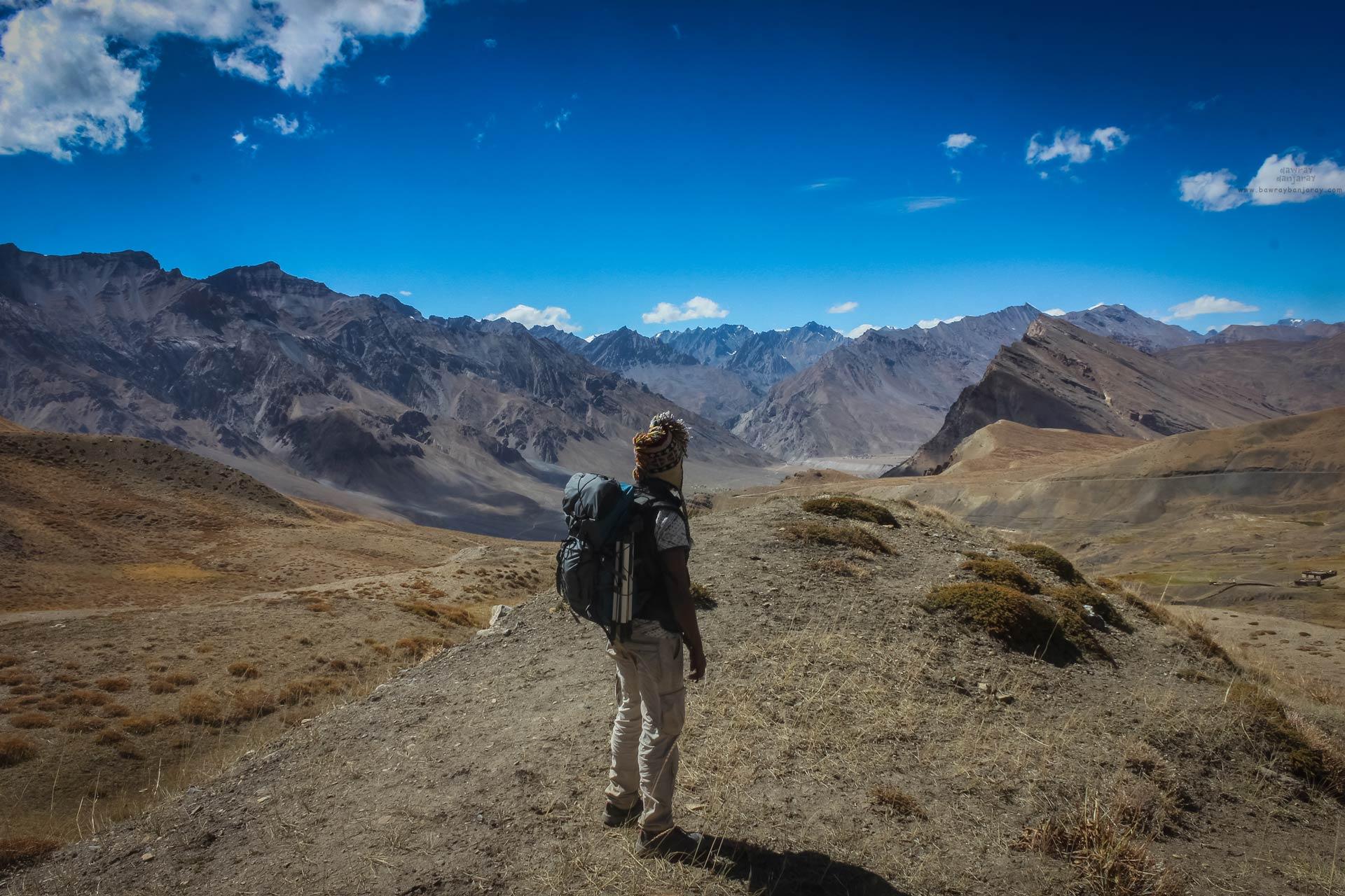Trekker enjoying view of Gette Village in Spiti Valley