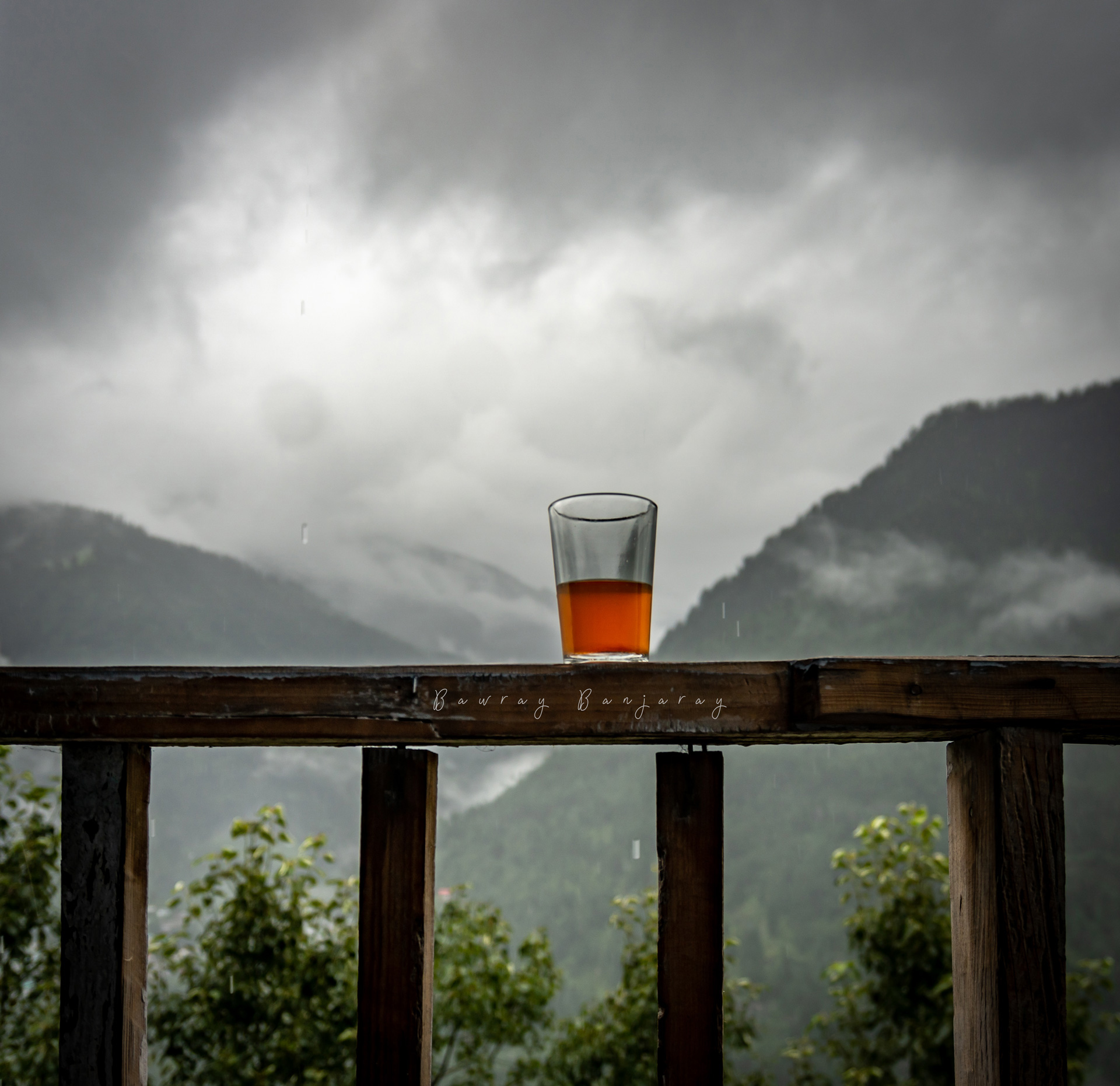 Tea with view in mountains