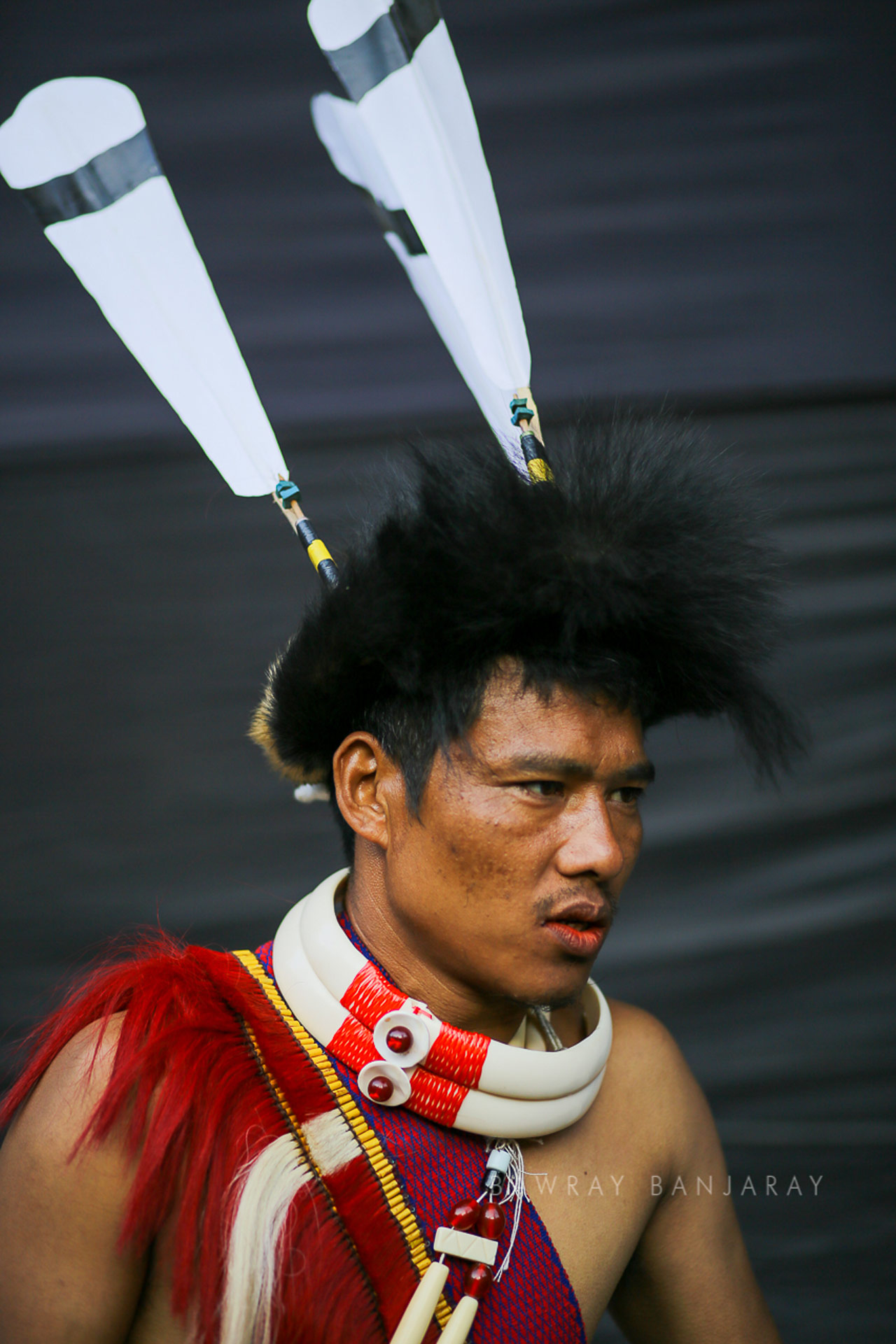 Young boy perparing for his performance at the Hornbill Fest