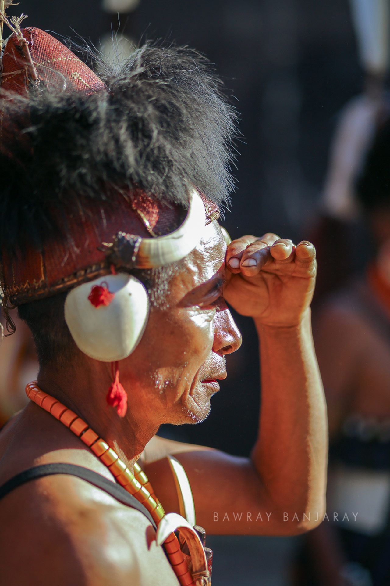 A tribal waiting waiting for his performance