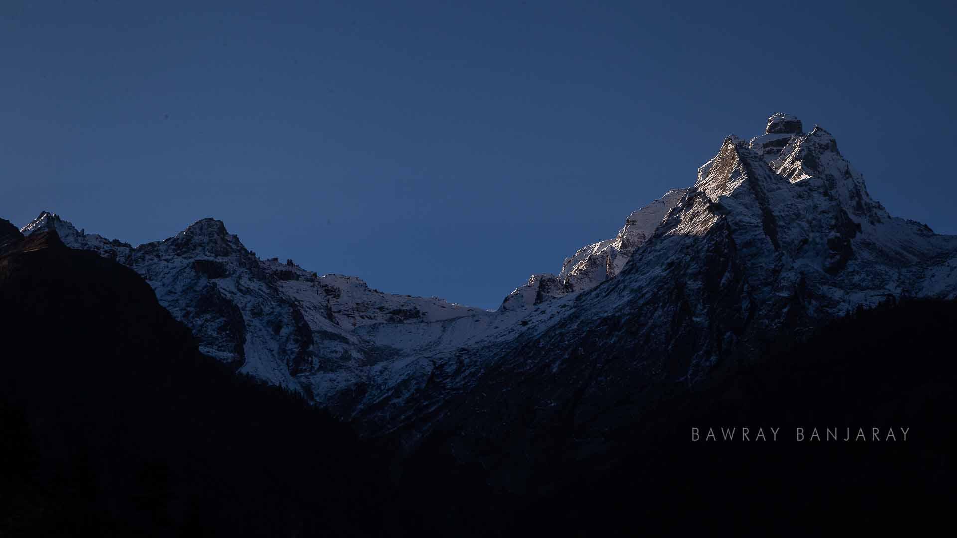 peaks of Garhwal Himalaya visible from Harshi