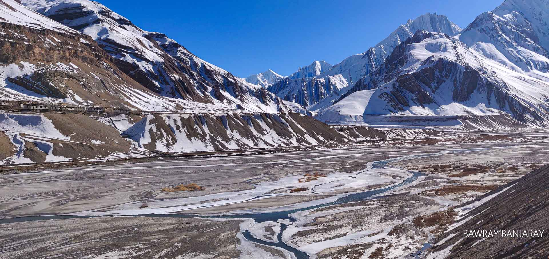 Frozen river in winter spiti