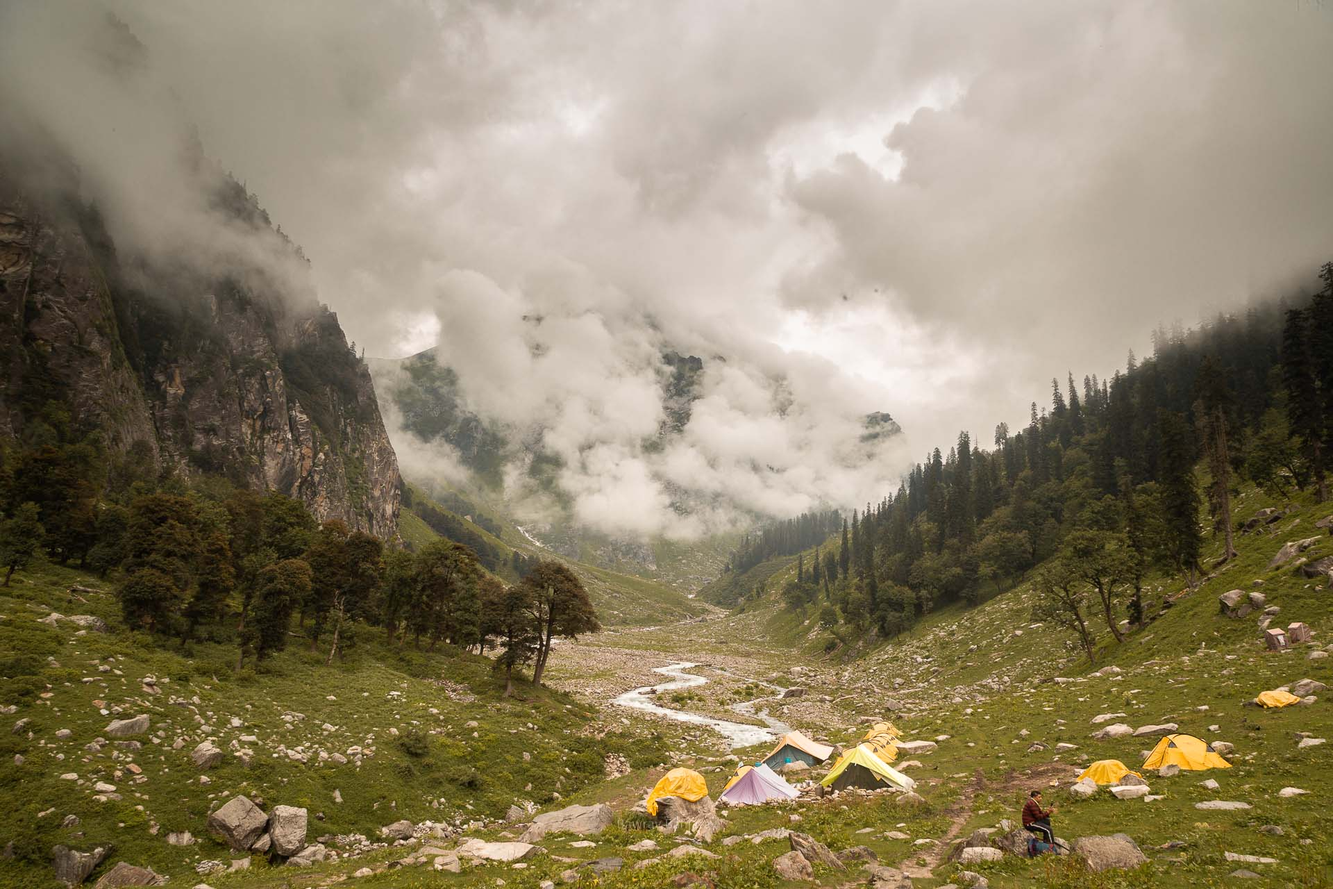 first base camp at Hampta Pass trek