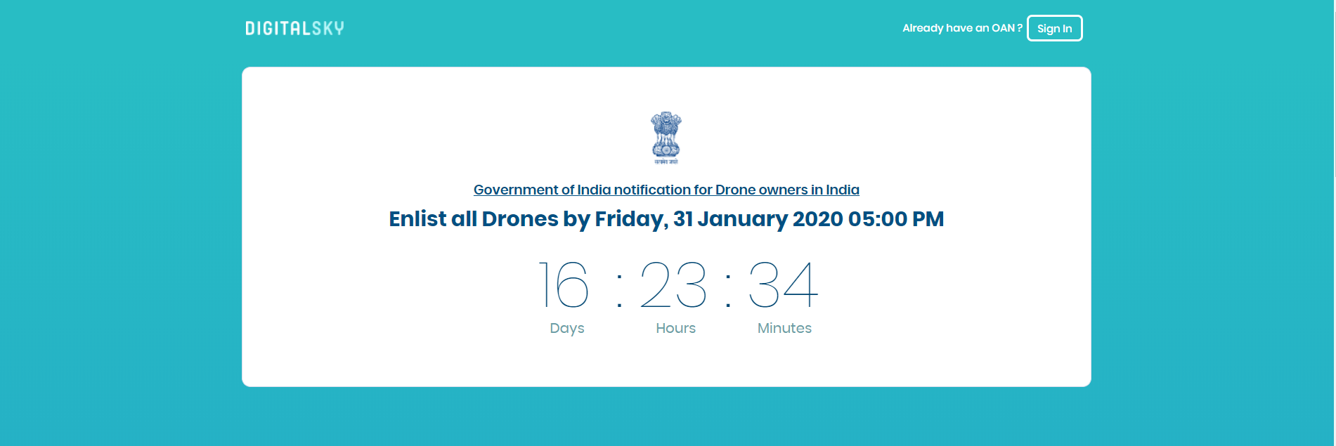 Notification to register drones in India