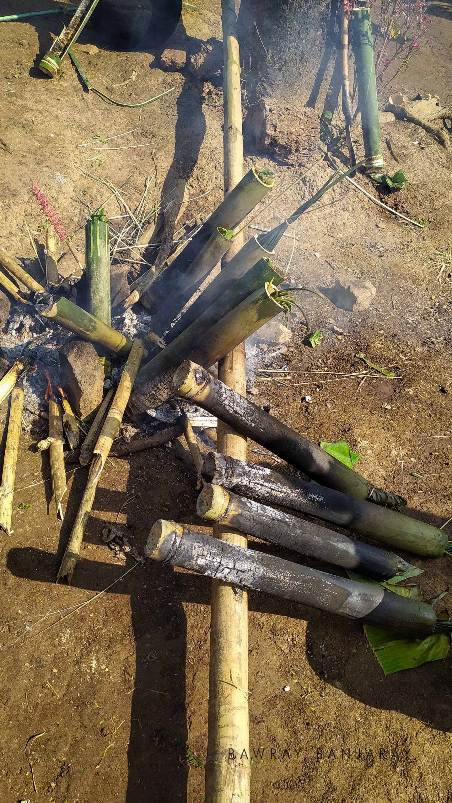 The Tiwa Tribe of Bodoland uses bamboo in cooking food