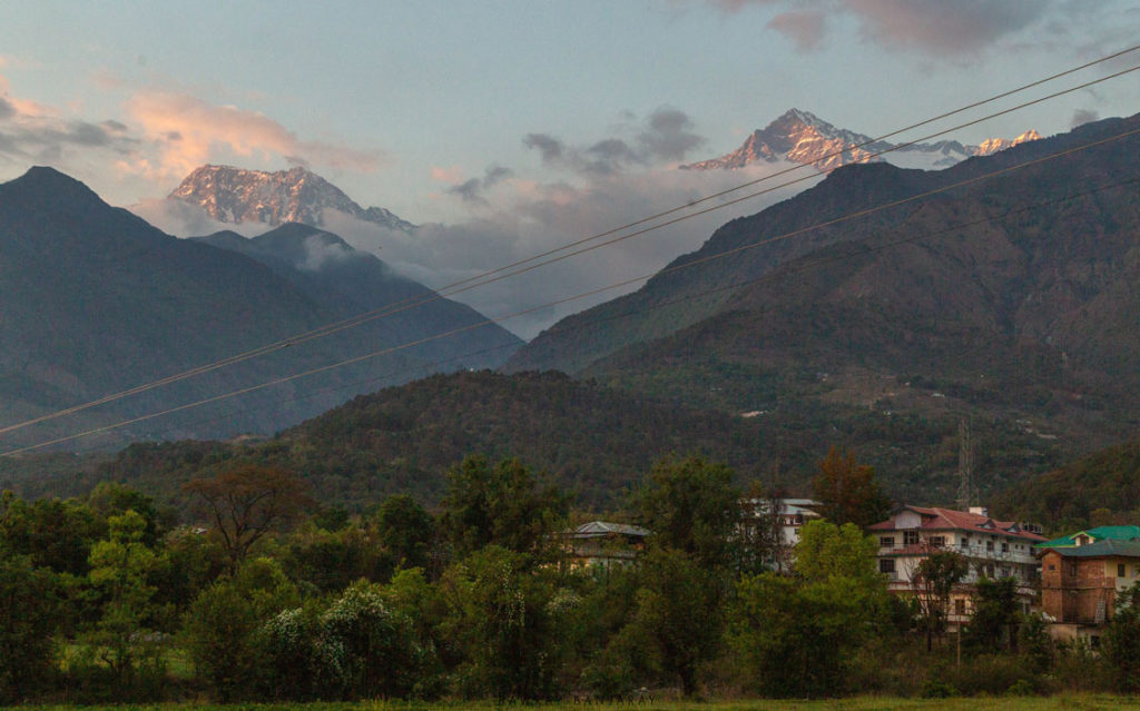 a beautiful evening over the dharamshala mountains.
