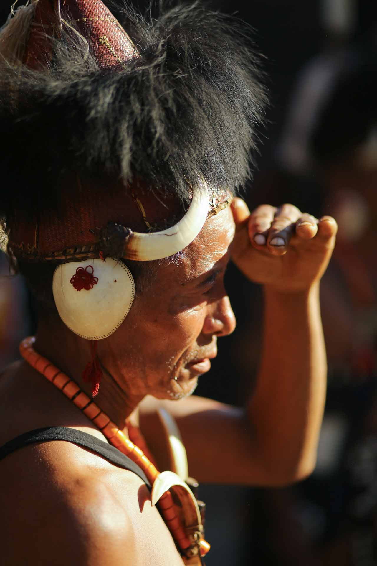 A performer waiting his turn at Hornbill Festival in Nagaland