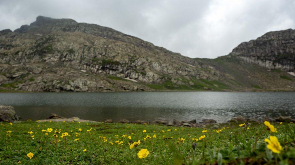 Sundarsar Lake lies enroute Marsar Lake from Tarsar Lake on the Tarsar Marsar trek of Kashmir